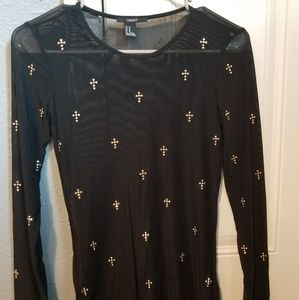 Sheer top with silver bling crosses